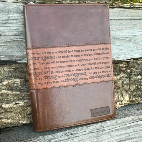 Strong and Courageous Zippered Classic LuxLeather Journal