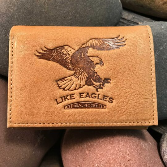 Leather Wallet: Like Eagles in Tan - ISAIAH 40:31