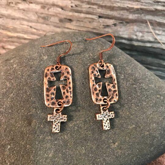 Bronze Double Cross Earrings