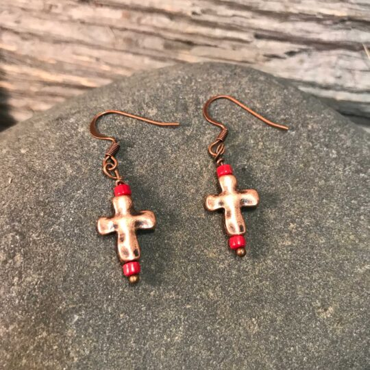 Bronze and Red Cross Earrings