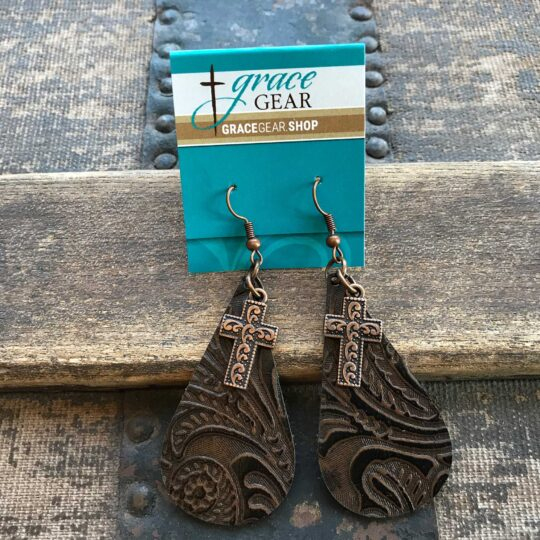 Brown Teardrop Shaped Embossed Leather Earrings