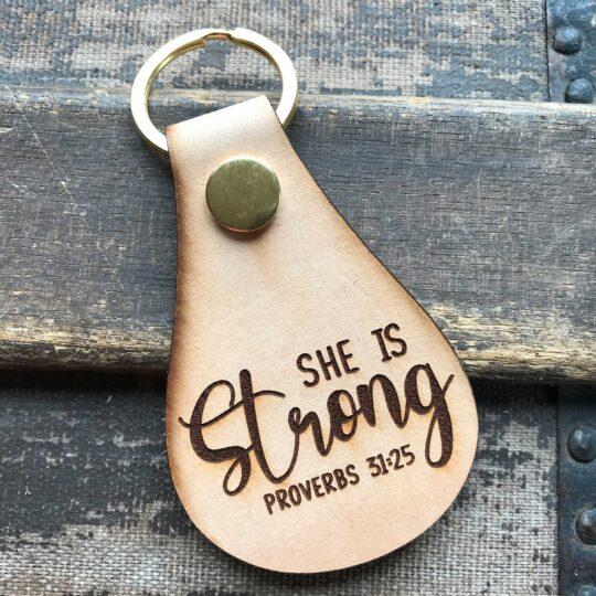 Proverbs 31:25 Keyring